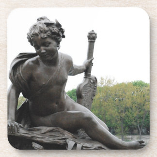 Cherub Angel Statue in Paris Beverage Coasters