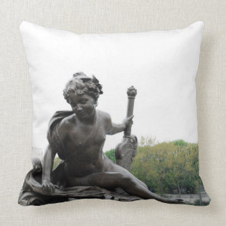 Cherub Angel Statue in Paris Pillow