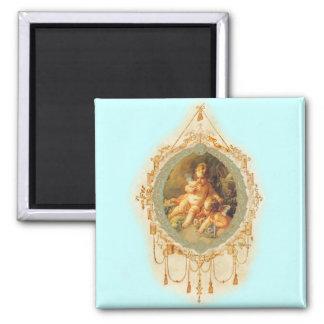 Cherub Angel Vintage French Design 2 Inch Square Magnet
