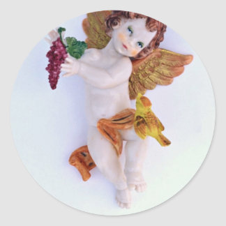 Cherub angel with grapes in hand stickers