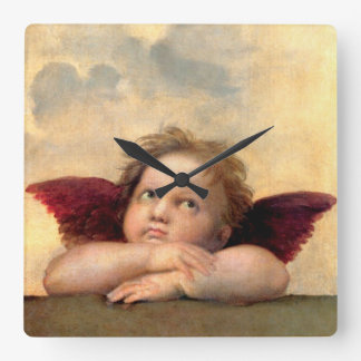 Cherub by Raphael Square Wall Clock