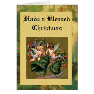 Cherub Christmas in Stained Glass Card