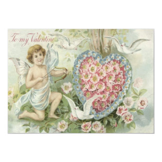 Cherub Cupid Bow Arrow Heart Dove Flower Card