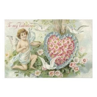 Cherub Cupid Bow Arrow Heart Dove Flower Photo