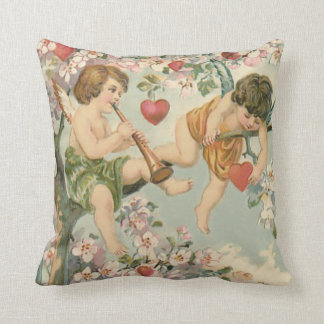 Cherub Cupid Flute Magnolia Tree Heart Throw Pillow