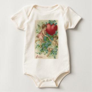 Cherub Cupid Heart Arrow Forget-Me-Nots Baby Bodysuit