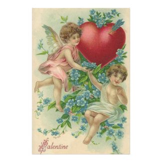 Cherub Cupid Heart Arrow Forget-Me-Nots Photo