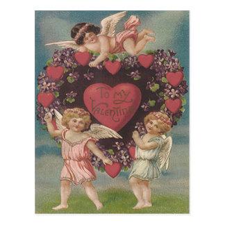 Cherub Cupid Heart Violets Valentine Postcard
