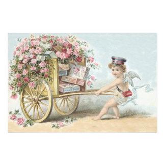 Cherub Cupid Mail Rose Candy Cart Art Photo