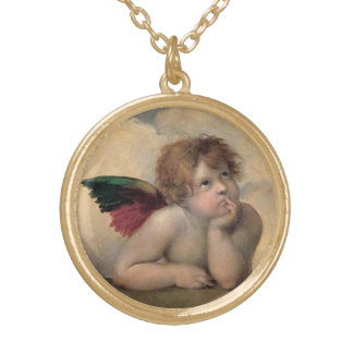 Cherub from Sistine Madonna by Raphael Gold Plated Necklace