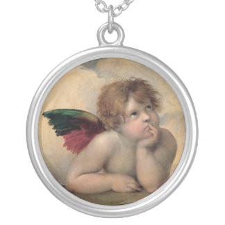 Cherub from Sistine Madonna by Raphael Silver Plated Necklace