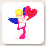 Cherub holding heart blue wings drink coaster