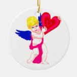 Cherub holding heart blue wings Double-Sided ceramic round christmas ornament