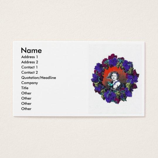 Cherub in grape wreath, red background business card