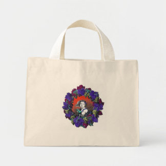 Cherub in grape wreath, red background canvas bags