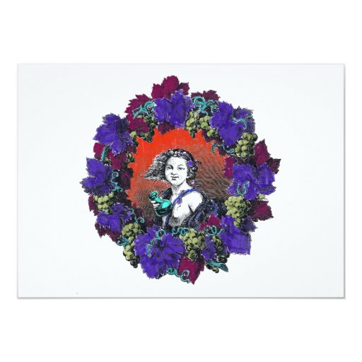 Cherub in grape wreath, red background 5x7 paper invitation card