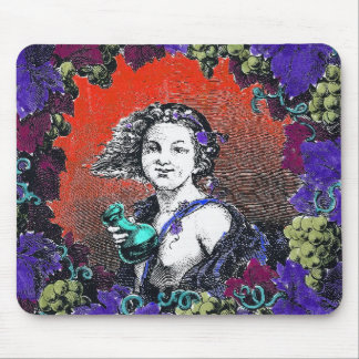 Cherub in grape wreath, red background mouse pad