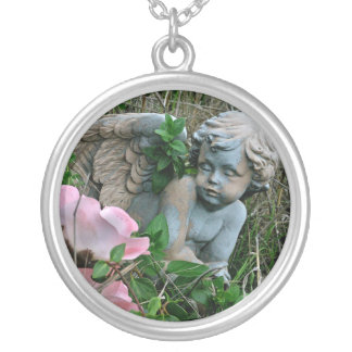 Cherub in the Grass Silver Plated Necklace