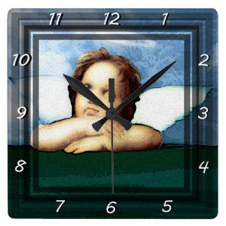 Cherub laying on the grass thinking square wall clock