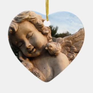 Cherub Memorial Keepsake Double-Sided Heart Ceramic Christmas Ornament