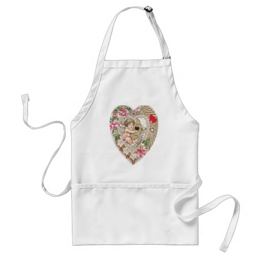 Cherub Playing Harp Illustration Adult Apron