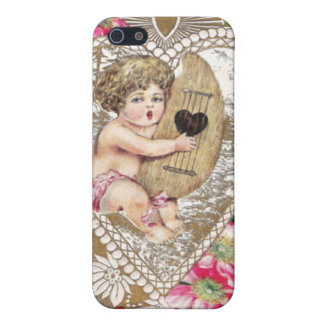 Cherub Playing Harp Illustration Case For iPhone SE/5/5s