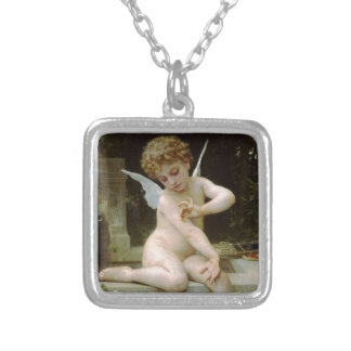 Cherub with A Butterfly Silver Plated Necklace