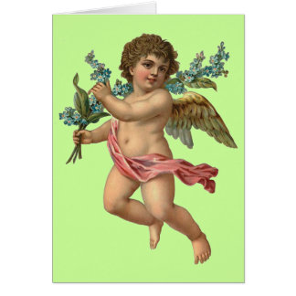 Cherub with Forget Me Not Flowers Card