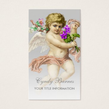 Professional Business Cherub with Peach Sash on Any Color Business Card