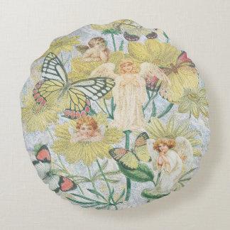Cherubs and Butterflies Round Pillow