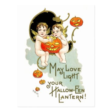 Halloween Themed Cherubs and Jack-o-Lantern Postcard