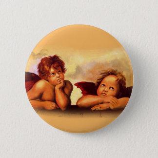 Cherubs, Angels, After Raphael: Original Artwork Pinback Button