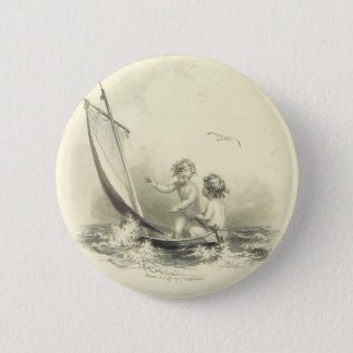 Cherubs - Angels on the Water Engraving Pinback Button
