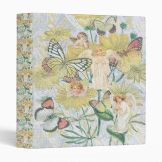 Cherubs, Butterflies and Flowers in Yellow 3 Ring Binder