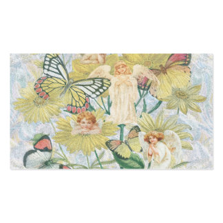 Cherubs, Butterflies and Flowers in Yellow Business Cards