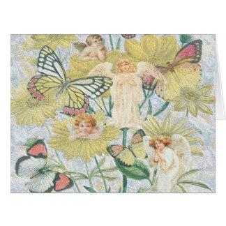 Cherubs, Butterflies and Flowers in Yellow Card