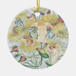 Cherubs, Butterflies and Flowers in Yellow Ceramic Ornament