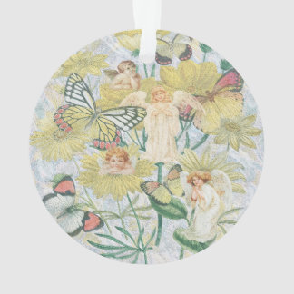 Cherubs, Butterflies and Flowers in Yellow Ornament