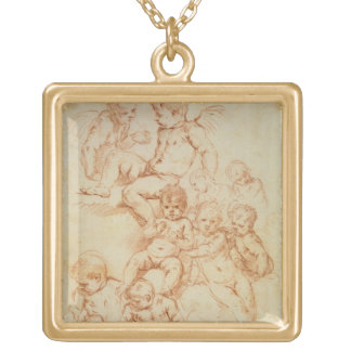 Cherubs, early 17th century (red chalk on paper) gold plated necklace