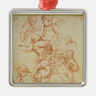 Cherubs, early 17th century (red chalk on paper) metal ornament