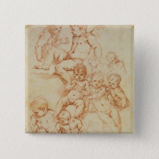 Cherubs, early 17th century (red chalk on paper) pinback button