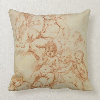 Cherubs, early 17th century (red chalk on paper) throw pillow