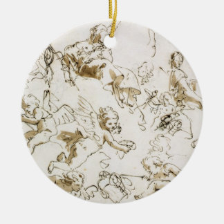 Cherubs, early 18th century (pen and ink and wash ceramic ornament