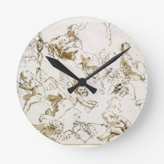 Cherubs, early 18th century (pen and ink and wash wall clock