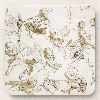 Cherubs early 18th century pen and ink and wash coaster