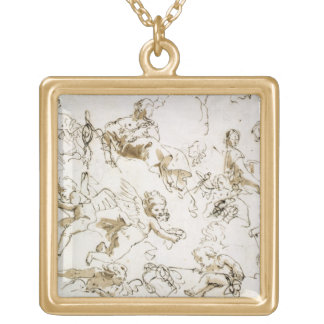Cherubs, early 18th century (pen and ink and wash gold plated necklace