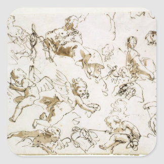Cherubs, early 18th century (pen and ink and wash square sticker