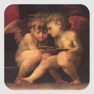 Cherubs from Madonna Enthroned with Four Saints Square Sticker