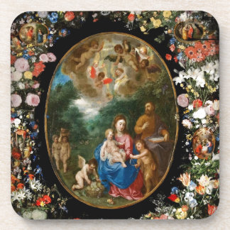 Cherubs Give Offerings to Christ Child Beverage Coasters