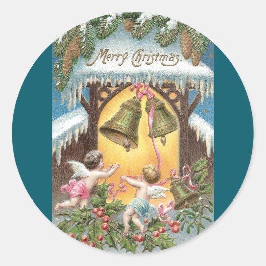 Cherubs Hanging Bells Vintage Christmas Classic Round Sticker
